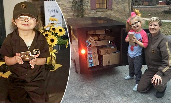 (Left) Parson Blue Harrington in her honorary UPS employee attire, and (right) Parson alongside her very own UPS truck and Tammy Patrick, a UPS employee who took a particular interest in Parson. (Facebook   Jennifer Sheffield Herrington)