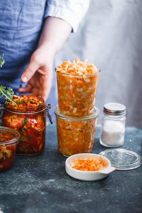 Fermented preserved vegetarian food concept