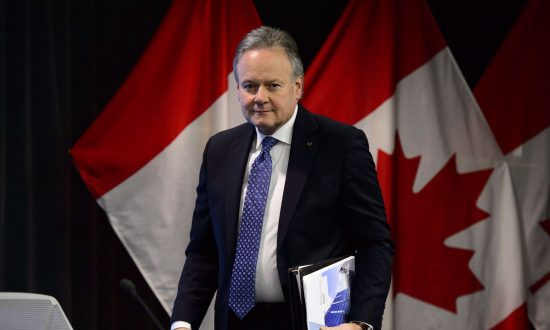 Stephen Poloz, governor of the Bank of Canada, holds a press conference at the bank in Ottawa on Jan. 9, 2019. Canada's central bank held its overnight rate target at 1.75 percent. (The Canadian Press/Sean Kilpatrick)