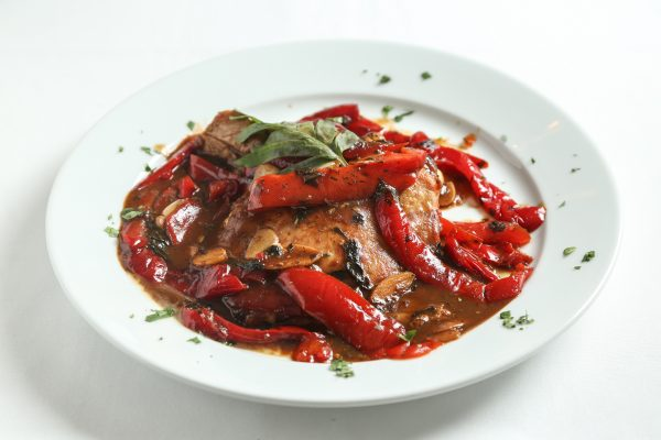 Pork chop with vinegar peppers from Patsy's Italian Restaurant