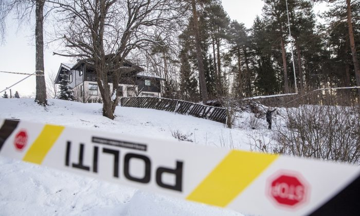A view of the home of missing woman Anne-Elisabeth Falkevik Hagen, the wife of one of Norway's richest men, Tom Hagen, in Fjellhamar, Norway, on Jan. 9, 2019. (Ole Berg-Rusten/NTB Scanpix via AP)