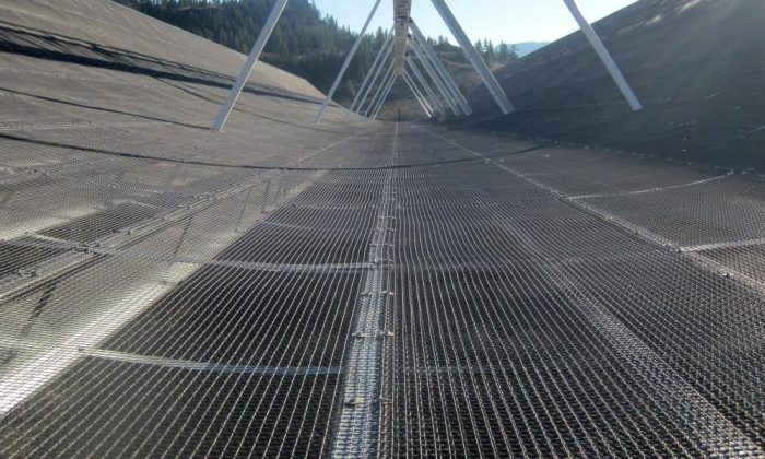CHIME, a radio telescope, was designed and built by scientists at the University of British Columbia, McGill University, the University of Toronto, the Perimeter Institute for Theoretical Physics, and the National Research Council of Canada. (UBC)