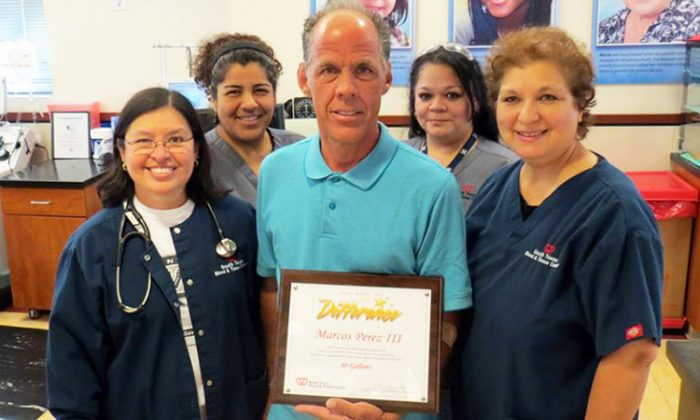 Marcos Perez, a mailman in Texas, achieved a milestone in 2017 for donating 100 gallons of blood. (Facebook   Connect for Life)