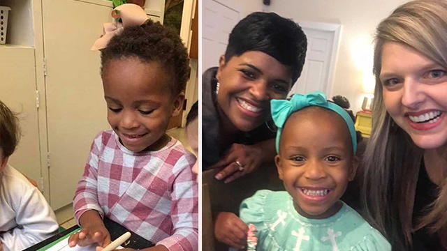 (Left) Baby Haley, her adoptive mother (Right) Stephanie Hollifield, and Monica, the African-American woman who taught Stephanie how to take care of Haley's hair. (Facebook | Stephanie Hollifield)