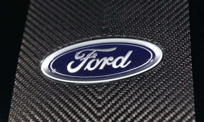 The Ford logo at the New York Auto Show in Manhattan, N.Y. on March 29, 2018. (Shannon Stapleton/Reuters)