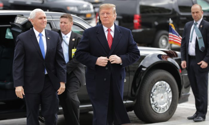 President Donald Trump and Vice President Mike Pence arrive at the U.S. Capitol to attend the weekly Republican Senate policy luncheon Jan. 9, 2019, in Washington, DC. (Chip Somodevilla/Getty Images)