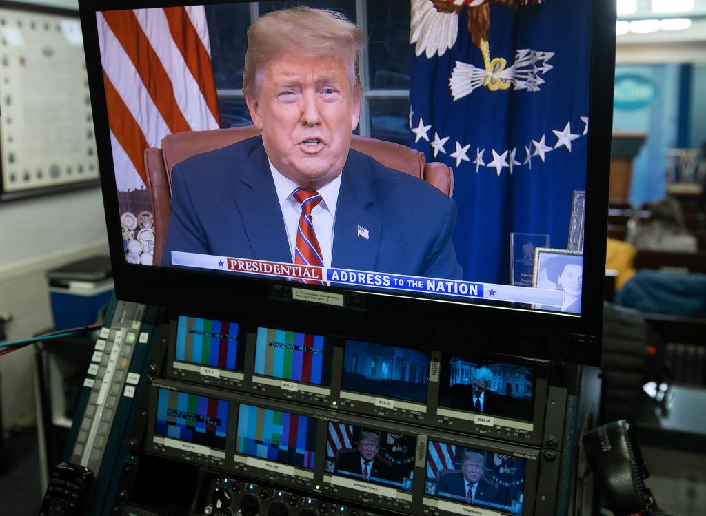 Trump on TV screen