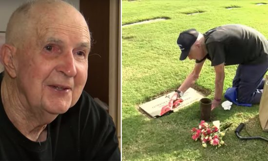 (L) Ted shows old photo of himself and his wife KNOE 8 News; (R) He has been visiting her grave for the past 5 years. (YouTube Screenshot   CBS 17)