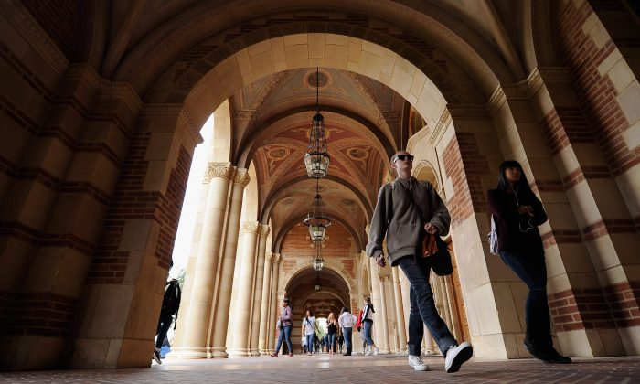 Students walk on the campus of UCLA in Los Angeles on April 23, 2012. (Kevork Djansezian/Getty Images)