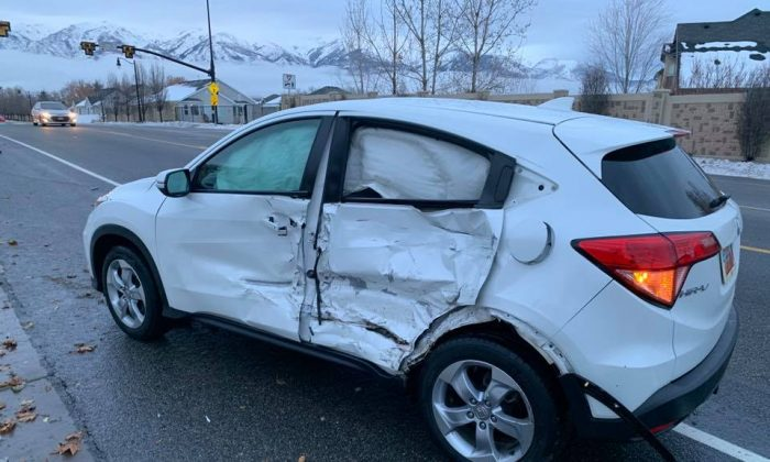 "A 17-year-old girl veered into oncoming traffic and slammed into another vehicle when she chose to do the so-called ""Bird Box Challenge"" and drive blindfolded, the Layton Police Department said on Jan. 11, 2019. (Layton City Police Department)"