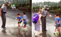 Video of State Trooper Jumping In Puddle With 2 Little Boys Melts Hearts on Social Media