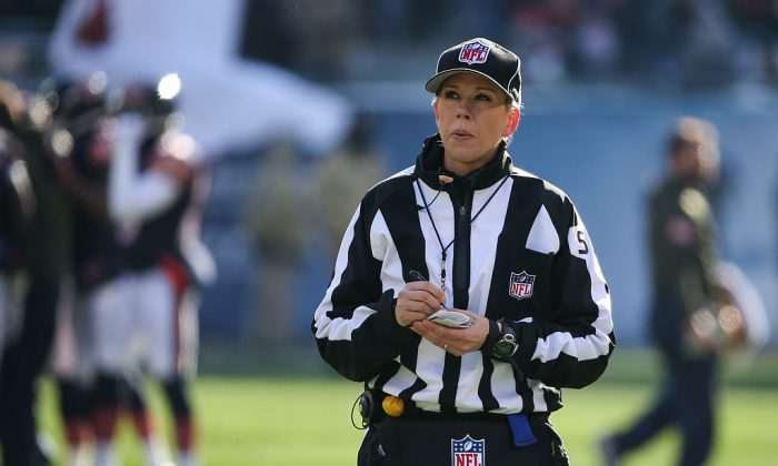 Line Judge Sarah Thomas #53 stands on the field during the NFL game between the Chicago Bears and the Denver Broncos at Soldier Field in Chicago, Illinois on Nov. 22, 2015. (Jonathan Daniel/Getty Images)