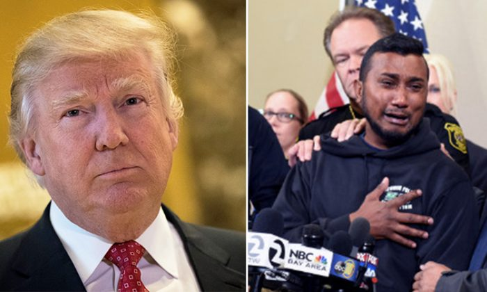 (Left) President Trump comforts, fallen cop Ronil Singh's brother, (Right) Reggie Singh who gave an emotional speech at the Border Security Roundtable held at McAllen, Texas on Jan.10. (L: Getty Images | Drew Angerer, R: AP | Joan Barnett Lee/The Modesto Bee)
