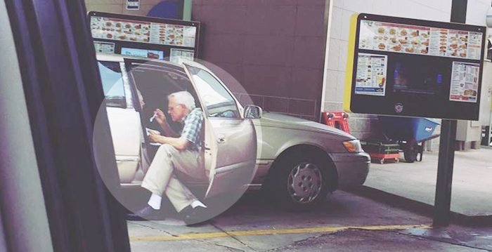 Dad Saw Old Man Sitting Awkwardly With Car Door Opened—But On Looking Closer, He Took a Photo