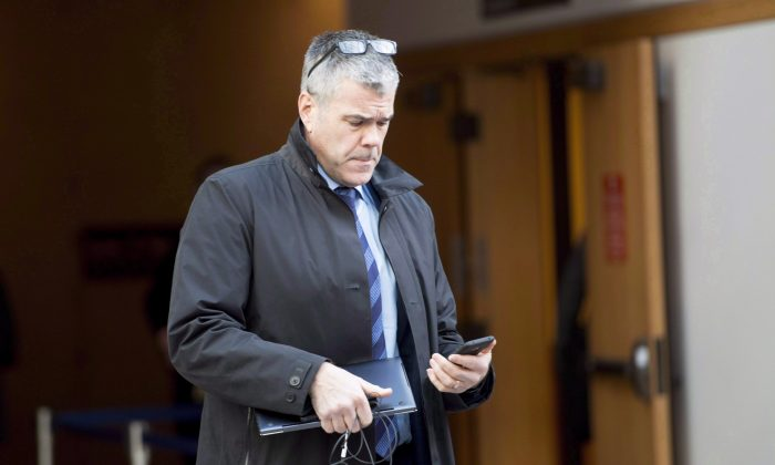 Scott Bradley, then senior vice president of corporate affairs at Huawei Canada outside a bail hearing for Huawei CFO Meng Wanzhou in Vancouver, Canada, on Dec. 10, 2018. (Jonathan Hayward/The Canadian Press)