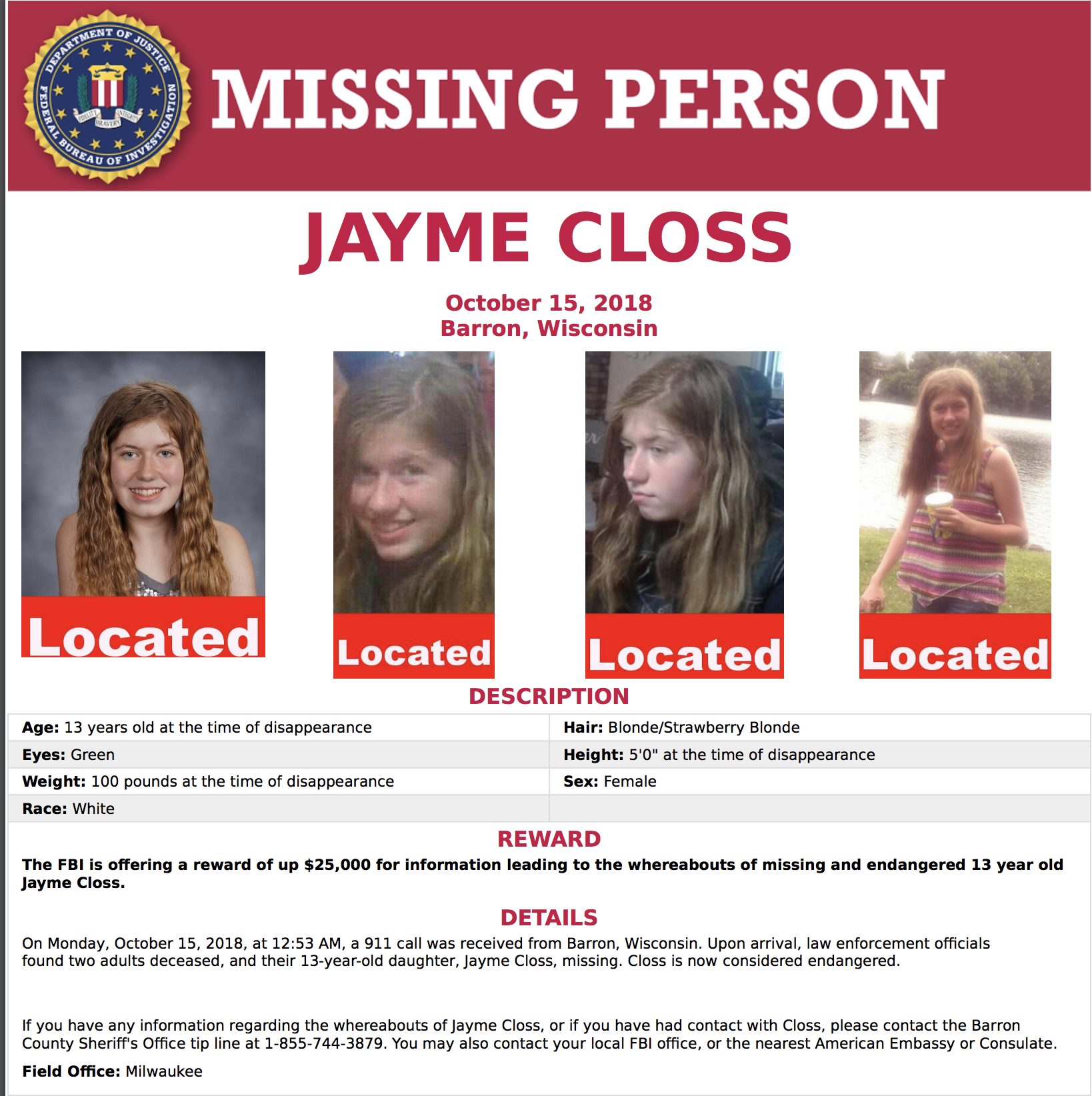 Jayme Closs Found Poster.