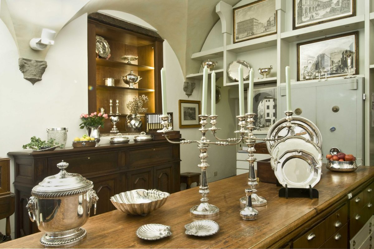 Silverware, candlesticks, sterling silver on display