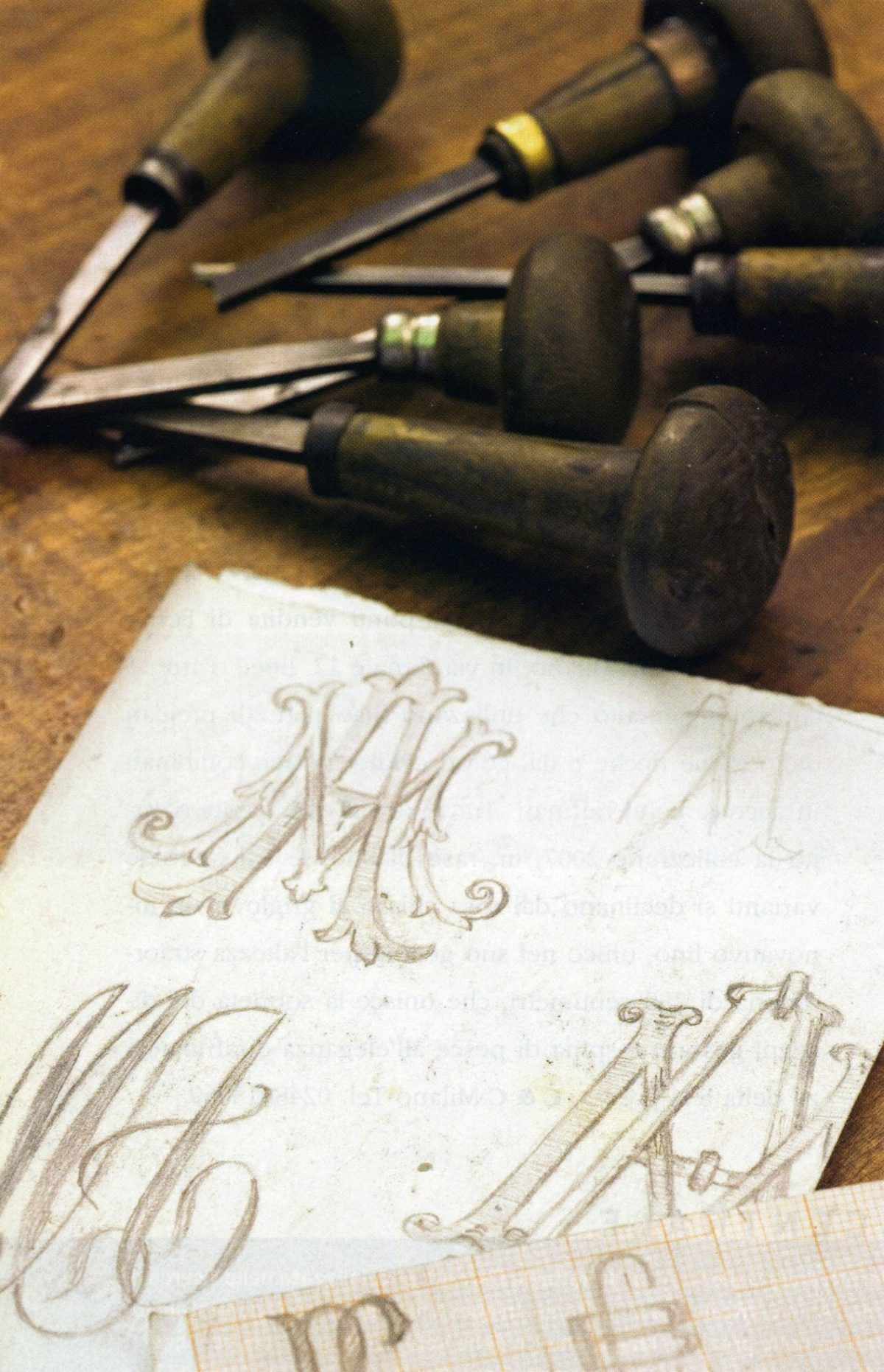 Drawing hand engraving tools