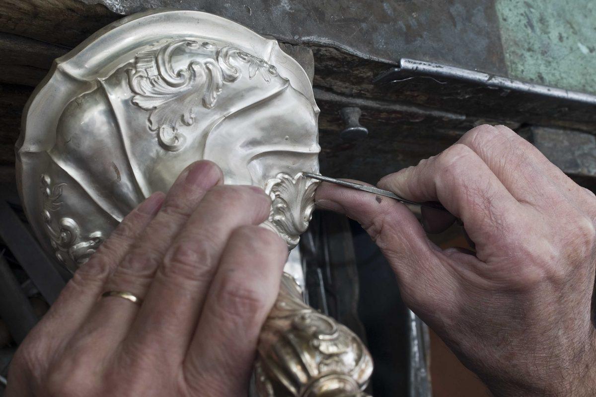 Silver restoration on a table or desk leg