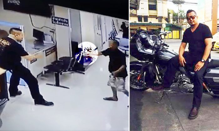Police officer in Thailand confronting knife-wielding suspect caught on CCTV. (L: Facebook Video Screenshot   Newsner.com, R: Facebook   Anirut Malee)
