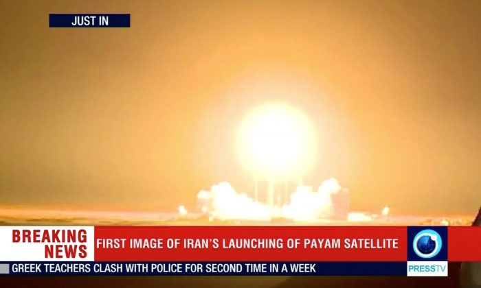 The Payam satellite is launched in Iran on Jan. 15, 2019. (Reuters TV/via Reuters)
