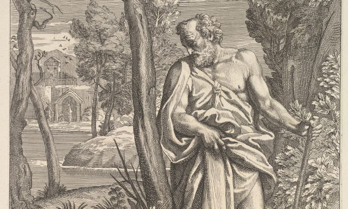 """""""Diogenes,"""" 1685–1734, by Andrea Procaccini after Carlo Maratti. Etching, 20 11/16 inches by 14 5/8 inches. The Elisha Whittelsey Collection, The Elisha Whittelsey Fund, 1951. (The Metropolitan Museum of Art)"""