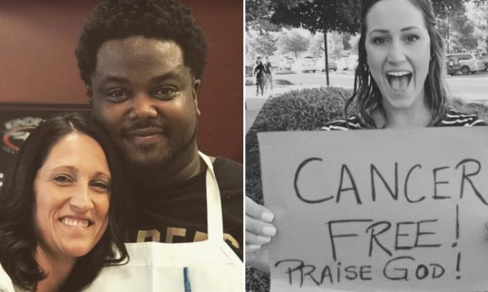 "Joslyn Fenyes and her ""angel,"" Byron, who prayed for her sister (right), Erica Turner, who was undergoing chemo treatments. (L: Facebook 