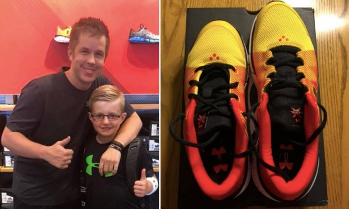 Under Armour employee Sean Kelly beside Landon Pearson, the boy whose different-sized feet prompted Sean's act of kindness. (Facebook | Natalie Ann)
