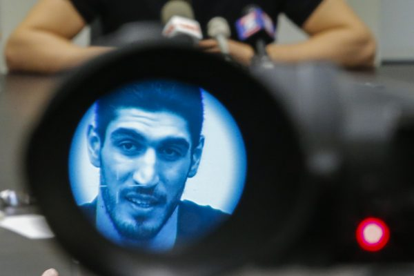 Turkish NBA Player Enes Kanter during a news conference