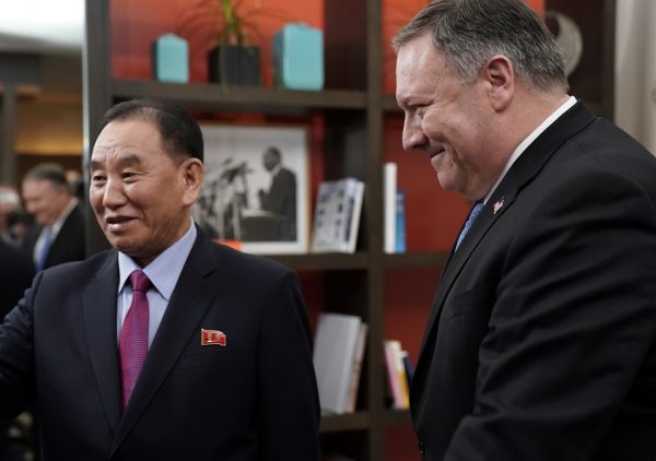 Secretary of State Mike Pompeo escorts Vice Chairman of the North Korean Workers' Party Committee Kim Yong Chol