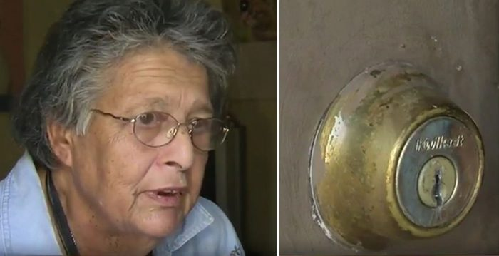 (Left) Geraldeine Tabor finds her husband dead in their home and immediately calls police, who notice her (right) broken front lock door and go out of their way to repair it. (Video Screenshot | Juan de Vojníkov)