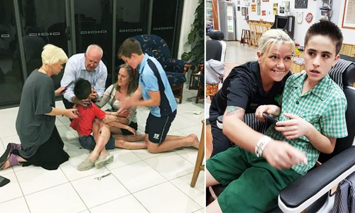 (Left) Lisa Anne, from Australia, tries to cut 10-year-old autistic boy Jordie Rowland's hair and fails but (Right) succeeds after two years by making him comfortable, (Facebook | The Celtic Barber Rothwell Central)