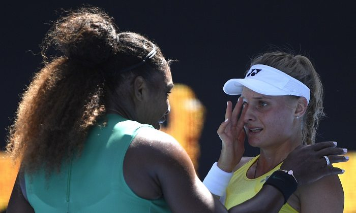 United States' Serena Williams consoles Ukraine's Dayana Yastremska after winning their third round match at the Australian Open tennis championships in Melbourne, Australia, on Jan. 19, 2019. (Andy Brownbill/AP Photo)