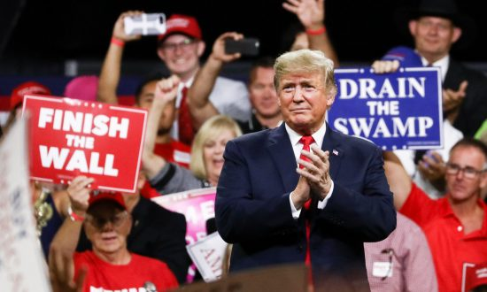 President Donald Trump at a Make America Great Again rally in Johnson City, Tenn., on Oct. 1, 2018. (Charlotte Cuthbertson/The Epoch Times)