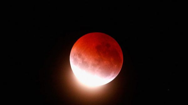 A blood red moon lights up the sky