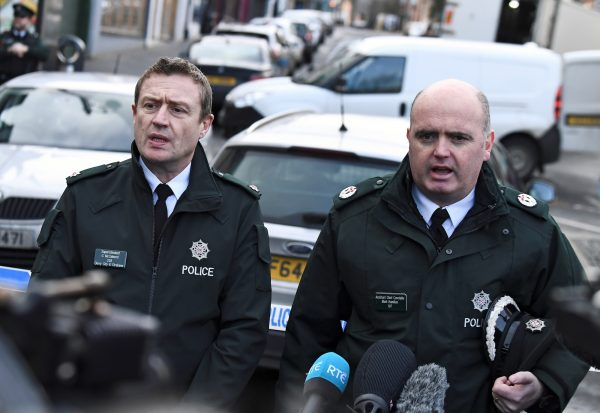 North Irish police speak to reporters