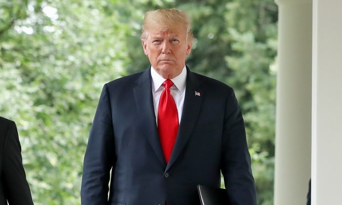 President Donald Trump in the Rose Garden of the White House, on July 25, 2018. (Samira Bouaou/The Epoch Times)
