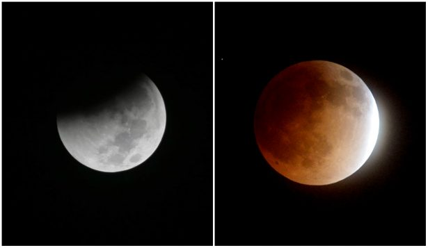 (L) Earth starts to cast its shadow on the moon during a complete lunar eclipse seen from Jakarta, Indonesia on Aug. 28, 2018. (AP Photo/Tatan Syuflana); (R) The moon is seen as it nears a total lunar eclipse on April 15, 2015 in Burbank, Calif. (Kevin Winter/Getty Images)