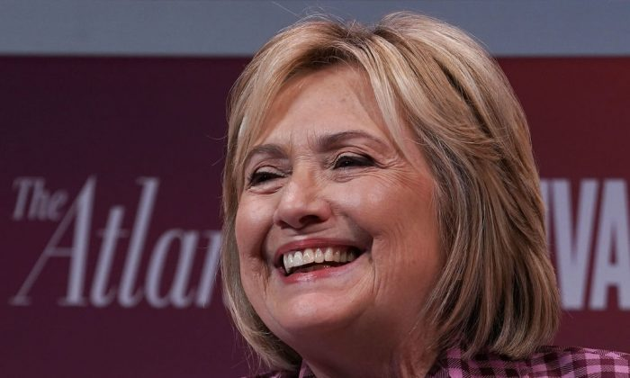 Former U.S. Secretary of State Hillary Clinton participates in a discussion during the 2018 Atlantic Festival Oct. 2, 2018 in Washington, DC. (Alex Wong/Getty Images)