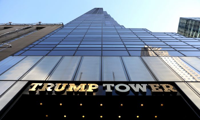 The Trump Tower in Manhattan, New York City, on Dec. 10, 2018. Testimonies by former FBI General Counsel James Baker reveal Michael Sussmann, a lawyer and parter at Perkins Coie, provided him with allegations that a computer at Trump tower was communicating with a Russian bank—allegations that were later proven false. (Spencer Platt/Getty Images)