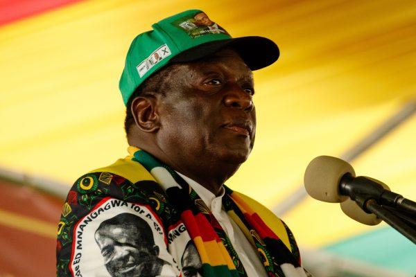 Zimbabwean President Emmerson Mnangagwa delivers a speech in Esigodini Matebeleland South, Zimbabwe, on Dec. 15, 2018. (Jekesai Njikizana/AFP/Getty Images)