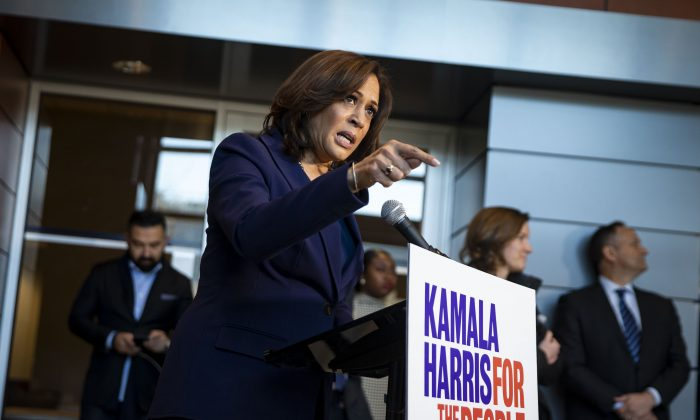 Sen. Kamala Harris (D-Calif.) speaks to reporters after announcing her candidacy for president of the United States, at Howard University, her alma mater, in Washington on Jan. 21, 2019. (Al Drago/Getty Images)
