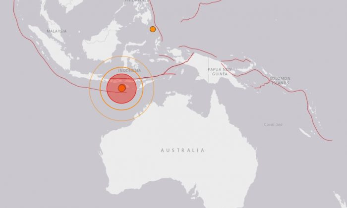Five earthquakes, the largest of which registered 6.4 on the Richter scale, hit Indonesia's southern waters within 5 hours on Jan. 22, 2019. (USGS)