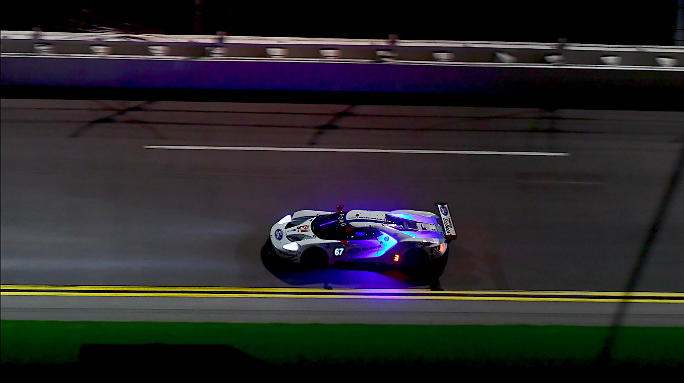 The GTLM Fords hit 177 mph on the banking