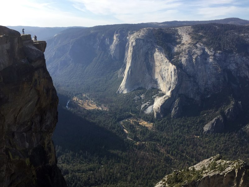 Taft Point, upper left, in California's Yosemite National Park