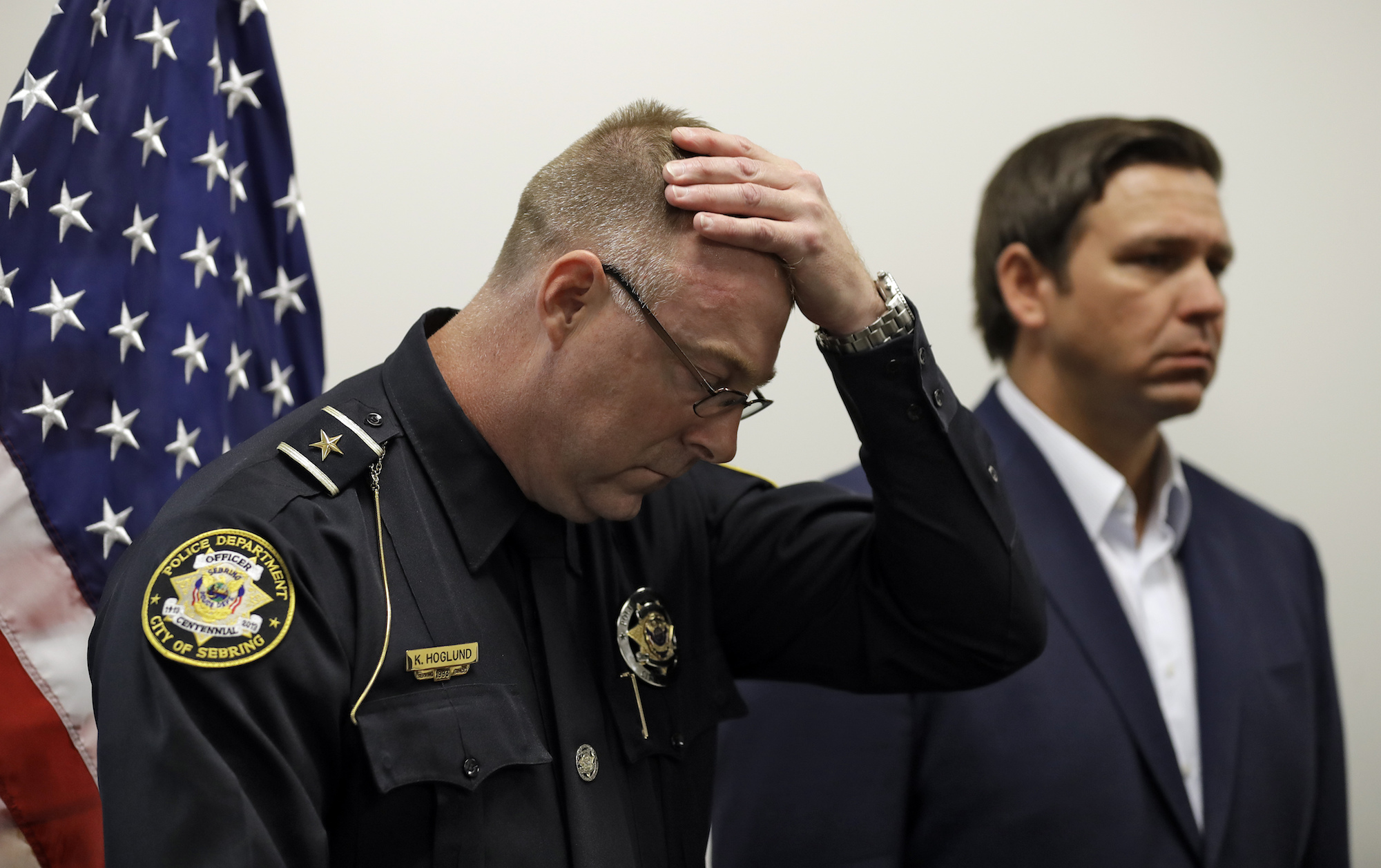 Sebring police chief and Florida governor at press conference
