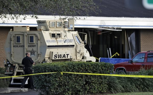 SWAT vehicle outside bank