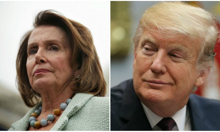 (L) House Minority Leader Rep. Nancy Pelosi (D-CA) and