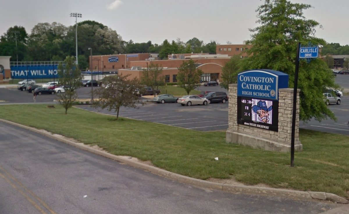 The entrance of the Covington Catholic high school in Park Hills, Kentucky