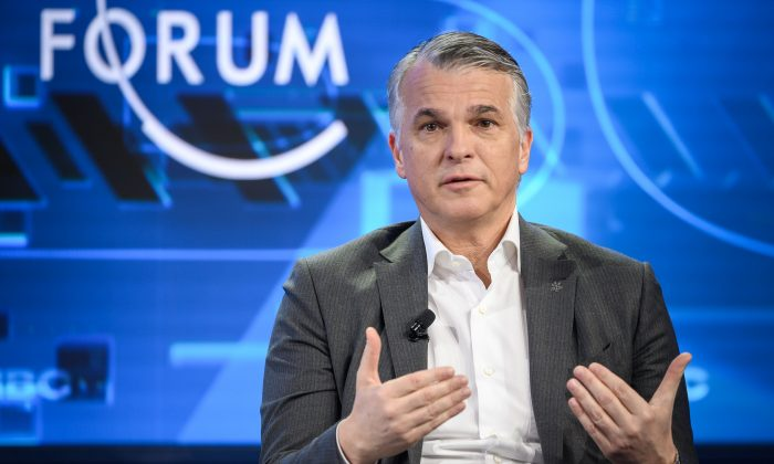 Swiss bank giant UBS CEO Sergio Ermotti is seen during the World Economic Forum annual meeting in Davos,  Switzerland on Jan. 24, 2019. (Fabrice Coffrini/AFP/Getty Images)